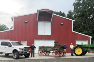 New Barn Picture with Ford Truck, wagon, John Deere Tractor WEB